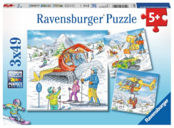 Ravensburger 08052 Puzzle: Auf der Skipiste, 3x49 Teile